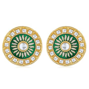 SUKKHI | Sukkhi Classic Gold Plated Kundan Meenakari Stud Earring For Women