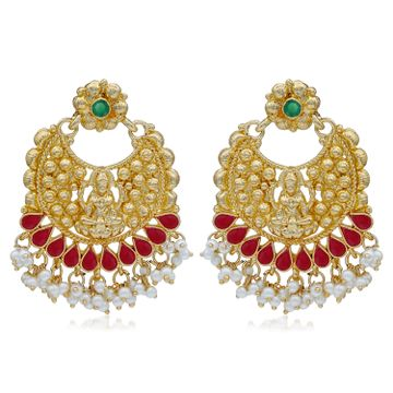 SUKKHI | Sukkhi Ethnic Pearl Gold Plated Goddess Chandbali Earring For Women