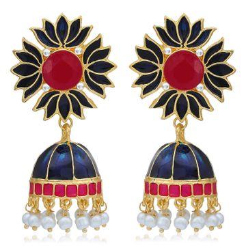 SUKKHI | Sukkhi Awesome Gold Plated Pearl Lotus Meenakari Jhumki Earring For Women