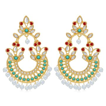 SUKKHI | Sukkhi Fancy Pearl Gold Plated Kundan Chandbali Earring For Women