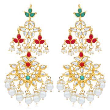 SUKKHI | Sukkhi Stunning Pearl Gold Plated Kundan Chandelier Earring For Women