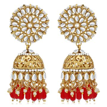 SUKKHI | Sukkhi Classic Pearl Gold Plated Kundan Jhumki Earring For Women