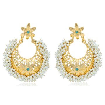 SUKKHI | Sukkhi Floral Gold Plated Pearl Chandbali Earring For Women