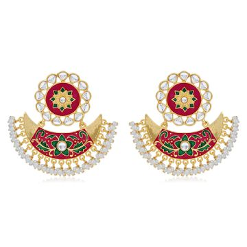 SUKKHI | Sukkhi Incredible Pearl Gold Plated Kundan Floral Meenakari Chandbali Earring For Women