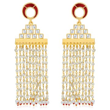 SUKKHI | Sukkhi Classy Gold Plated Pearl Meenakari Chandelier Earring For Women