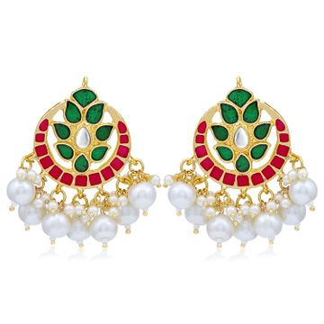 SUKKHI | Sukkhi Glossy Kundan Gold Plated Pearl Meenakari Chandbali Earring For Women