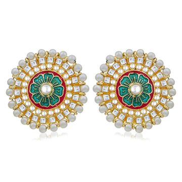 SUKKHI | Sukkhi Traditional Pearl Gold Plated Kundan Meenakari Stud Earring For Women