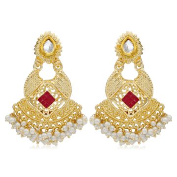 SUKKHI | Sukkhi Classy Kundan Gold Plated Pearl Chandbali Earring For Women