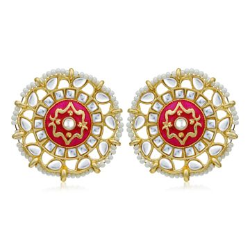 SUKKHI | Sukkhi Fabulous Pearl Gold Plated Kundan Meenakari Stud Earring For Women