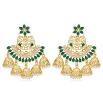 SUKKHI | Sukkhi Exotic Pearl Gold Plated Floral Chandbali Earring For Women