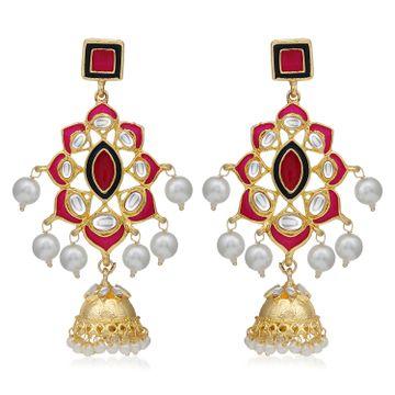 SUKKHI | Sukkhi Gleaming Pearl Gold Plated Kundan Meenakari Jhumki Earring For Women