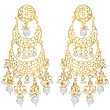 SUKKHI   Sukkhi Astonish Gold Plated Pearl Chandelier Earring For Women