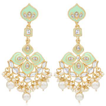 SUKKHI | Sukkhi Pretty Kundan Gold Plated Pearl Meenakari Chandelier Earring for Women
