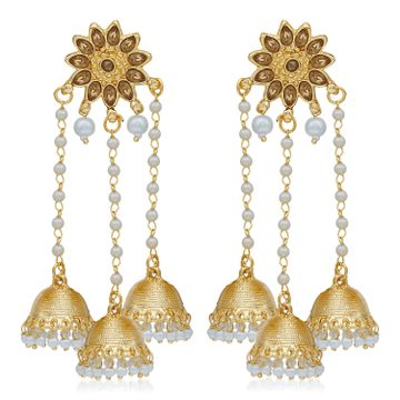 SUKKHI | Sukkhi Gorgeous Gold Plated Pearl Jhumki Earring for Women