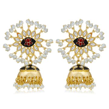 SUKKHI | Sukkhi Designer Kundan Gold Plated Pearl Meenakari Jhumki Earring For Women