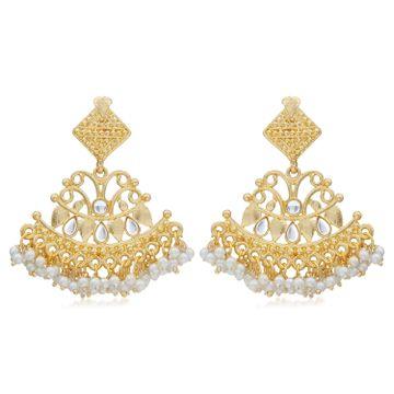 SUKKHI   Sukkhi Lavish Kundan Gold Plated Pearl Chandelier Earring for Women