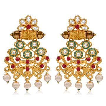 SUKKHI | Sukkhi Lavish Pearl Gold Plated Kundan Mint Collection Dangle Earring for Women
