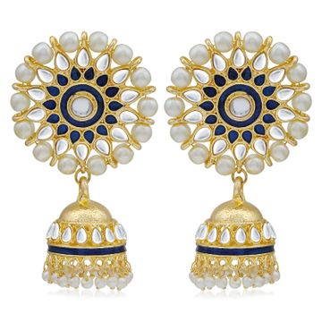 SUKKHI | Sukkhi Fabulous Kundan Gold Plated Pearl Meenakari Jhumki Earring for Women