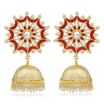 SUKKHI | Sukkhi Graceful Kundan Gold Plated Pearl Meenakari Jhumki Earring for Women