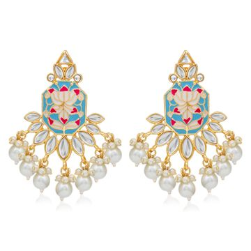 SUKKHI | Sukkhi Glimmery Pearl Gold Plated Lotus Meenakari Dangle Earring For Women