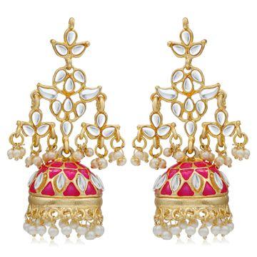 SUKKHI | Sukkhi Trendy Pearl Gold Plated Meenakari Kundan Jhumki Earring For Women