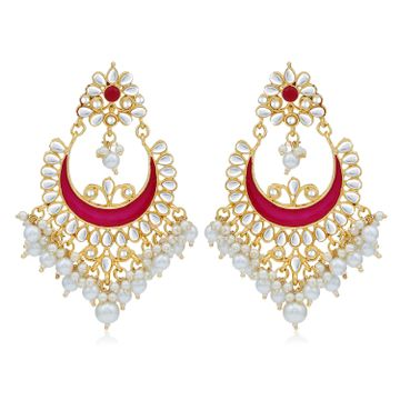 SUKKHI | Sukkhi Charming Pearl Gold Plated Kundan Meenakari Chandbali Earring For Women