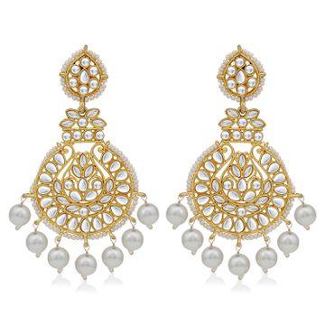SUKKHI   Sukkhi Gleaming Pearl Gold Plated Kundan Chandbali Earring for Women