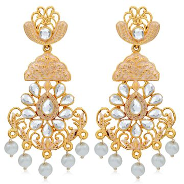 SUKKHI   Sukkhi Glitzy Pearl Gold Plated Mint Collection Chandelier Earring For Women