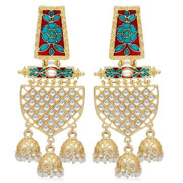 SUKKHI | Sukkhi Amazing Pearl Gold Plated Kundan Floral Meenakari Chandelier Earring For Women