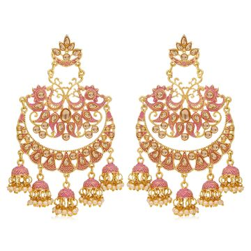 SUKKHI | Sukkhi Exotic Gold Plated Mint Collection Pearl Chandelier Earring For Women