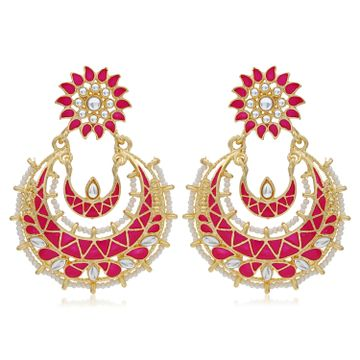 SUKKHI | Sukkhi Elegant Pearl Gold Plated Kundan Meenakari Chandbali Earring For Women