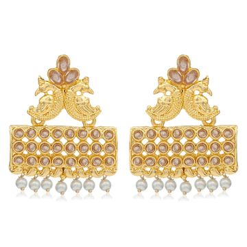 SUKKHI | Sukkhi Glimmery Pearl Gold Plated Peacock Dangle Earring For Women