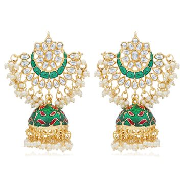 SUKKHI | Sukkhi Exclusive Pearl Gold Plated Kundan Meenakari Jhumki Earring Form Women