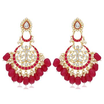 SUKKHI | Sukkhi Amazing Pearl Gold Plated Kundan Meenakari Chandbali Earring For Women