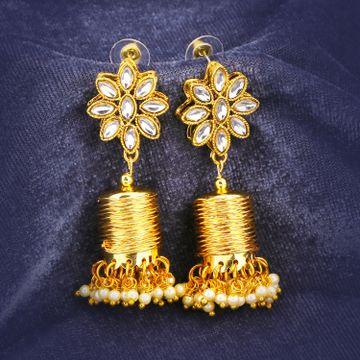 SUKKHI   Sukkhi Stylish Kundan Gold Plated Pearl Dangle Earring for Women
