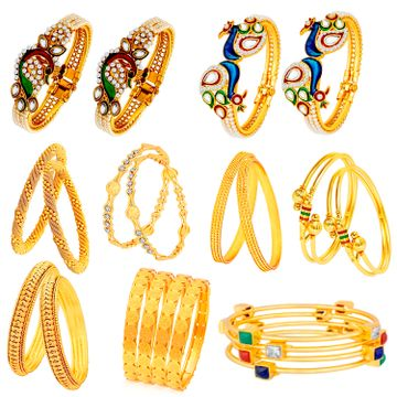 SUKKHI | Sukkhi Stunning Pearl Gold Plated Peacock Meenakari Bangle Set Combo for Women
