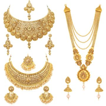 SUKKHI | Sukkhi Spectacular LCT Gold Plated Pearl Choker & Long Haram Necklace Set Combo for Women