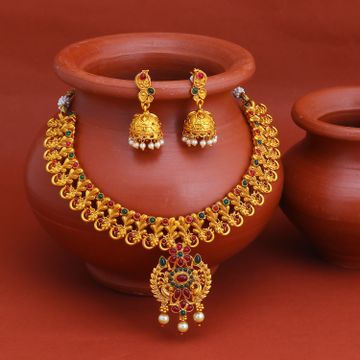 SUKKHI | Sukkhi Astonish Gold Plated Pearl Collar Necklace Set for Women