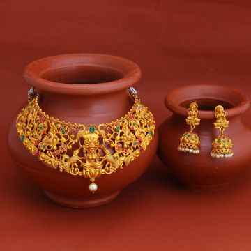 SUKKHI   Sukkhi Fascinating Gold Plated Temple Choker Necklace Set for Women