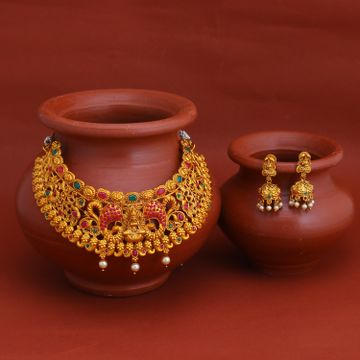SUKKHI | Sukkhi Incredible Gold Plated Temple Choker Necklace Set for Women