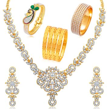 SUKKHI | Sukkhi Glorious Gold Plated Pearl Peacock Meenakari Jewellery Combo for Women