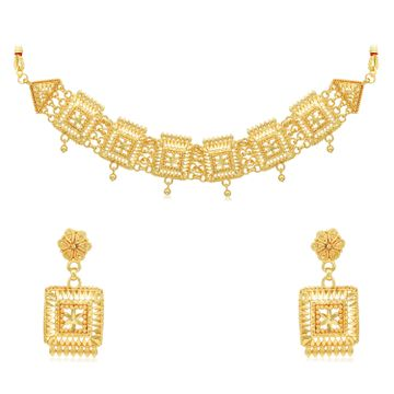 SUKKHI | Sukkhi Glittery 24 Carat Gold Plated Choker Necklace Set for Women