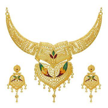 SUKKHI | Sukkhi Amazing 24 Carat Gold Plated Meenakari Choker Necklace Set for Women