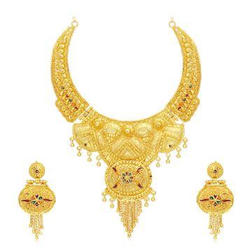 SUKKHI | Sukkhi Lovely 24 Carat Gold Plated Meenakari Choker Necklace Set for Women
