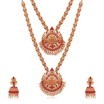SUKKHI | Sukkhi Adorable Gold Plated Goddess Temple Jewellery Pearl Dual Necklace Set for Women