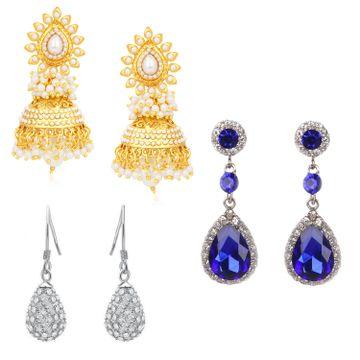 SUKKHI | Sukkhi Amazing Oxidised & Gold Plated Combo Set of 3 Earring for Women