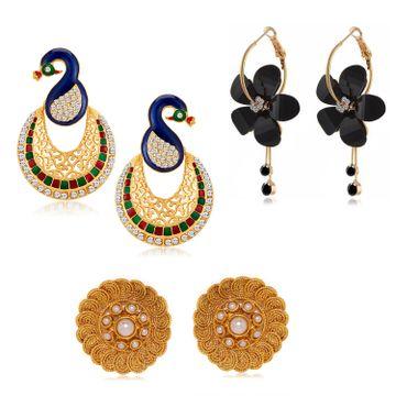 SUKKHI | Sukkhi Exclusive Pearl Gold Plated Austrian Diamond Combo Set of 3 Earring for Women