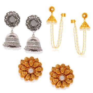SUKKHI | Sukkhi Brillant Kundan Oxidised & Gold Plated Pearl Combo Set of 3 Earring for Women