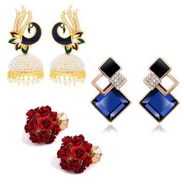SUKKHI | Sukkhi Glorious Gold Plated Pearl Peacock Meenakari Combo Set of 3 Earring for Women
