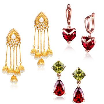 SUKKHI | Sukkhi Elegant Swarovski Crystal Gold Plated Combo Set of 3 Earrings for Women